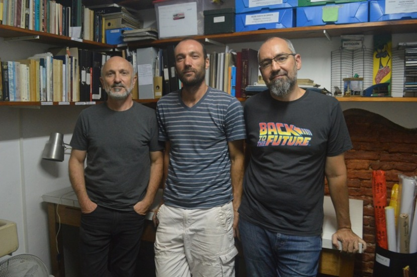 Daniel Del Cogliano, Reinaldo Moralejo y Diego Gobbo en el Museo de La Plata. FOTO CONICET Fotografía