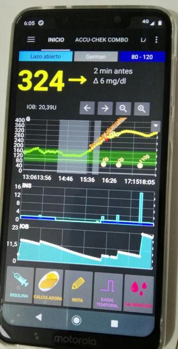 Plataforma preliminar en celular del paciente.